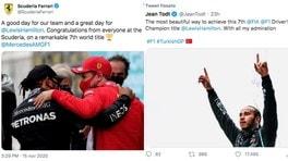 Hamilton, dalla Ferrari fino a Jean Todt: gli auguri social dello sport per i 7 Mondiali FOTO
