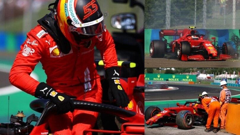 Qualifiche GP Ungheria: Sainz a muro in Q2, Ferrari distrutta