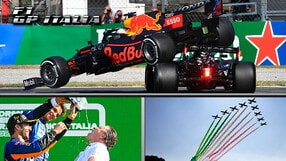 GP Italia: Ricciardo torna a bere dalla scarpa McLaren, che botto tra Hamilton e Verstappen